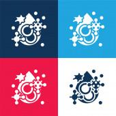 Blutblaues und rotes Vier-Farben-Minimalsymbolset