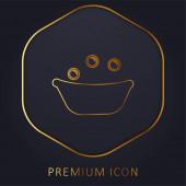 Dětská koupel vana s mýdlem Bubbles zlatá čára prémie logo nebo ikona