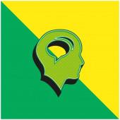 Plešatá hlava s bublinami chatu uvnitř zelené a žluté moderní 3D vektorové logo