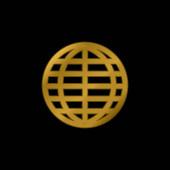 Big Globe rács aranyozott fém ikon vagy logó vektor