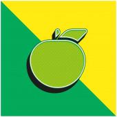Apple Zöld és sárga modern 3D vektor ikon logó