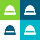 Bowler Byt čtyři barvy minimální ikona nastavena