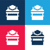 Booth blue and red four color minimal icon set
