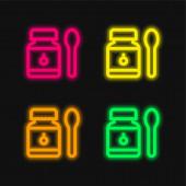 Baby Food négy színű izzó neon vektor ikon