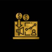Reklama pozlacená metalická ikona nebo vektor loga