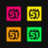 51 Auf Social Logo vier Farben leuchtenden Neon-Vektor-Symbol