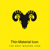 Aries Zodiac Symbol Of Frontal Goat Head minimal bright yellow material icon