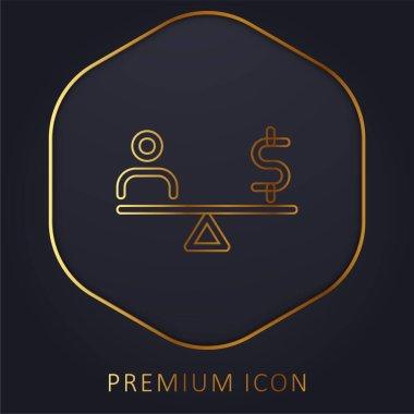 Balance golden line premium logo or icon stock vector
