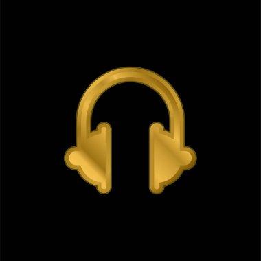 Big Headphones gold plated metalic icon or logo vector stock vector