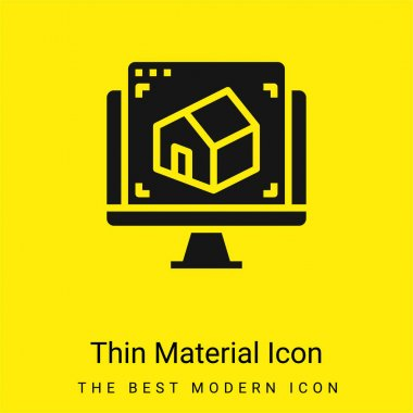 3d minimal bright yellow material icon stock vector