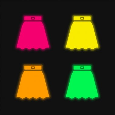 Big Skirt four color glowing neon vector icon stock vector