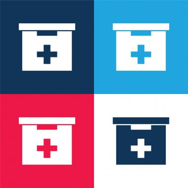 Bathroom First Aid Kit Box blue and red four color minimal icon set stock vector