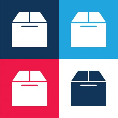 Box blue and red four color minimal icon set stock vector