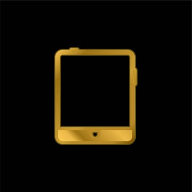 Big Tablet gold plated metalic icon or logo vector stock vector