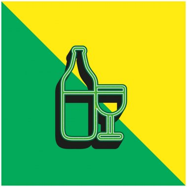 Bottle And Cup Outline Green and yellow modern 3d vector icon logo stock vector