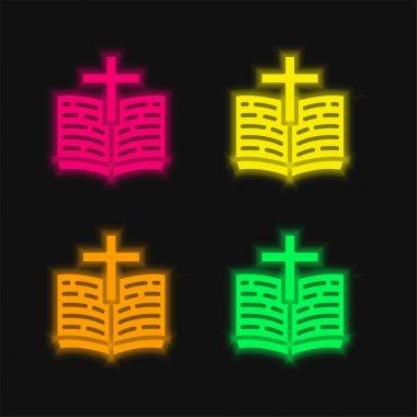 Bible four color glowing neon vector icon stock vector