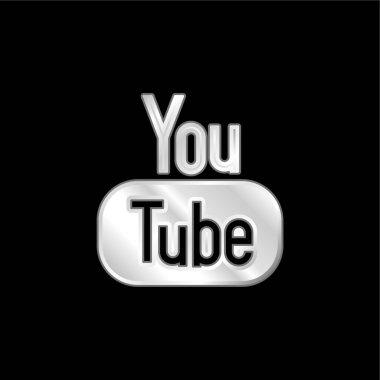 Big YouTube Logo silver plated metallic icon stock vector
