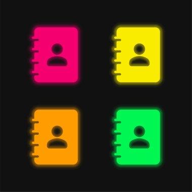 Agenda four color glowing neon vector icon stock vector