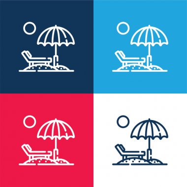 Beach blue and red four color minimal icon set stock vector