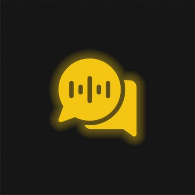 Audio Message yellow glowing neon icon stock vector