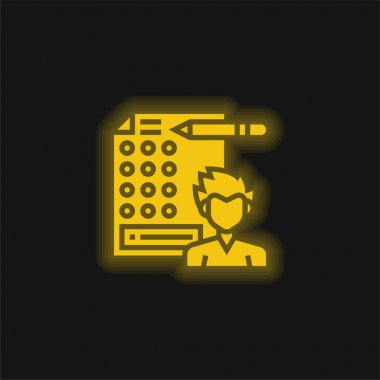 Answer yellow glowing neon icon stock vector