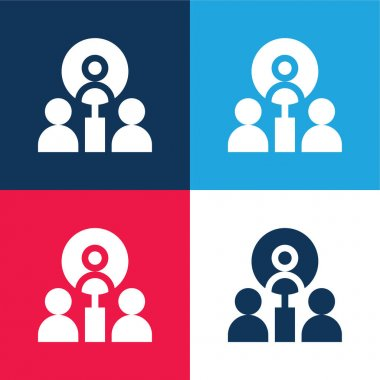 Best Employee blue and red four color minimal icon set stock vector