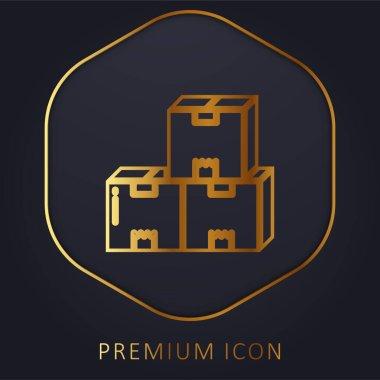 Boxes golden line premium logo or icon stock vector