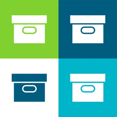 Box Covered Flat four color minimal icon set stock vector