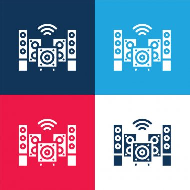 Audio blue and red four color minimal icon set stock vector