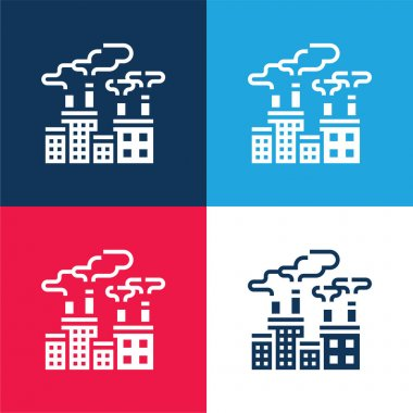 Air Pollution blue and red four color minimal icon set stock vector
