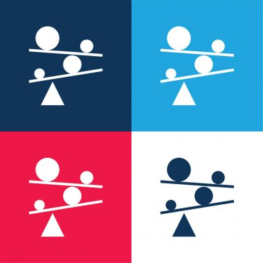 Balance blue and red four color minimal icon set stock vector