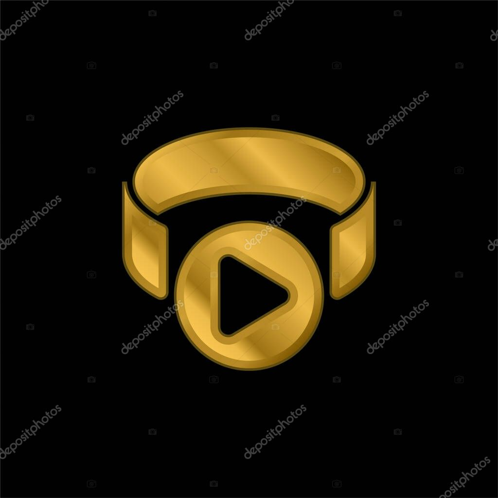 3d Viewer gold plated metalic icon or logo vector stock vector