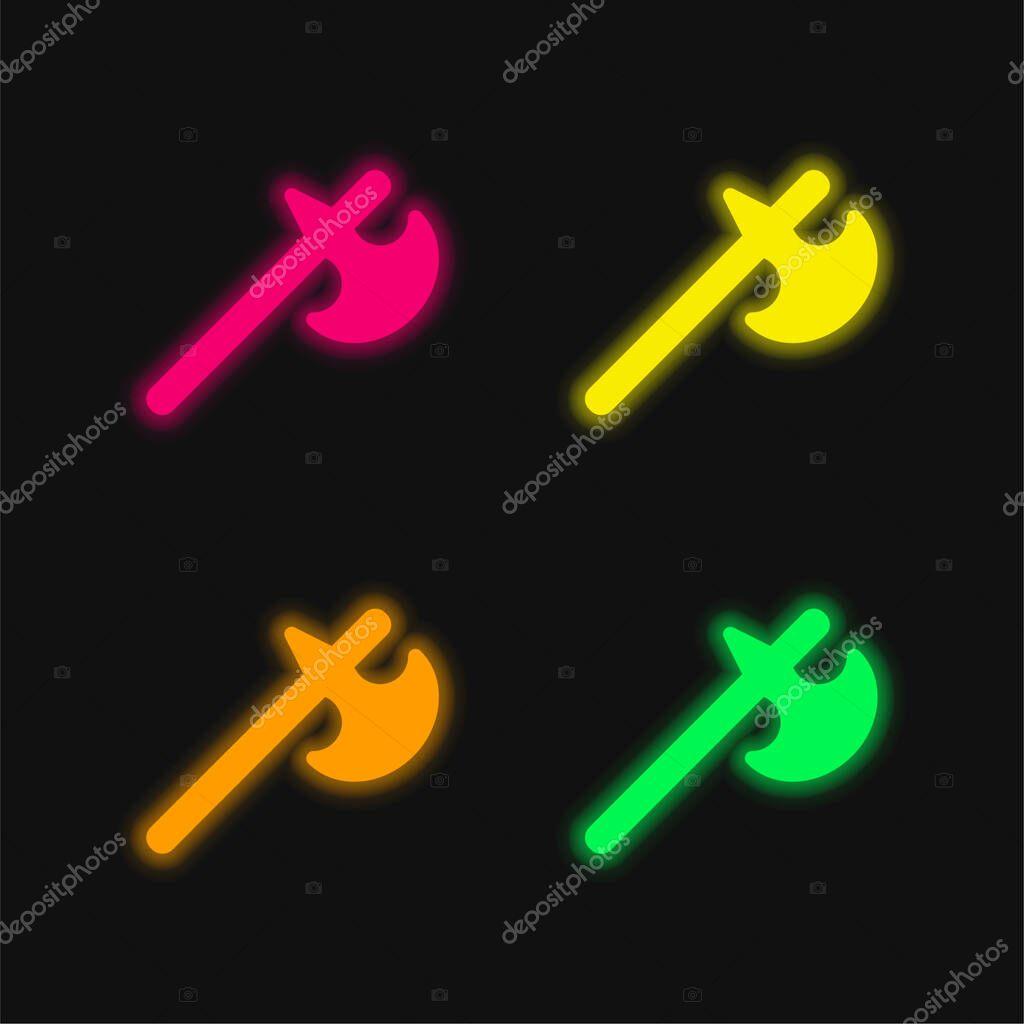 Battle Axe four color glowing neon vector icon stock vector
