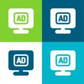 Hirdetés Lapos négy szín minimális ikon készlet