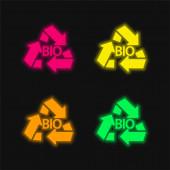 Bio Mass Recycle Symbol four color glowing neon vector icon