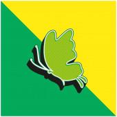 Schöne Schmetterling Silhouette Grüne und gelbe moderne 3D-Vektor-Symbol-Logo