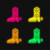 Boot čtyři barvy zářící neonový vektor ikona