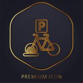 Bicycle Parking golden line premium logo or icon