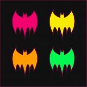 Bat Black Silhouette vier Farben leuchtenden Neon-Vektor-Symbol