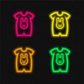 Dětská látka s králičí hlavou obrys čtyři barvy zářící neonový vektor ikona