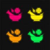 Aromaterápia négy szín izzó neon vektor ikon