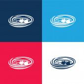 Ptáci v hnízdě modré a červené čtyři barvy minimální ikona nastavena