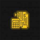 Účetnictví žlutá zářící neonová ikona
