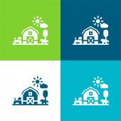 Barn Flat négy szín minimális ikon készlet