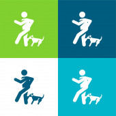 Kousnout ploché čtyři barvy minimální ikona nastavena
