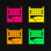 Beach Ball čtyři barvy zářící neonový vektor ikona