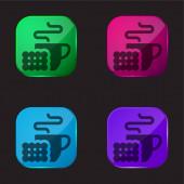 Snídaně čtyři barvy skleněné tlačítko ikona