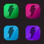 Černá blesk čtyři barvy skla ikona