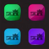 Nagy ház autó garázs négy színű üveg gomb ikon