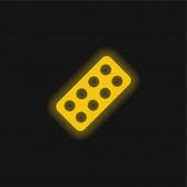 Antibiotika žlutá zářící neonová ikona